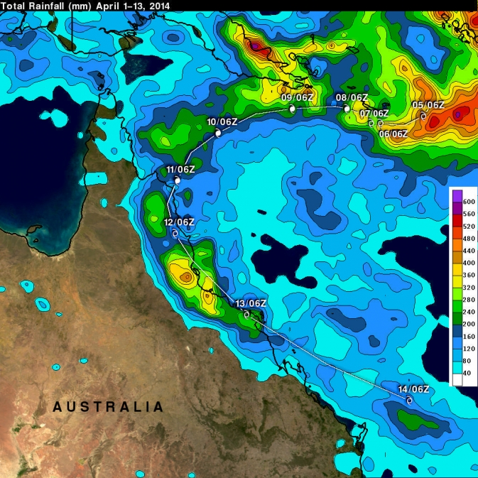 TRMM rainfall map for Ita