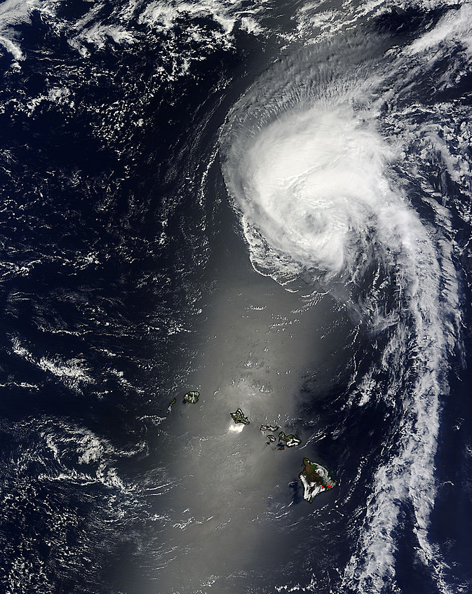 NASA's Terra satellite captured this visible image of Tropical Storm Julio far north of Hawaii.