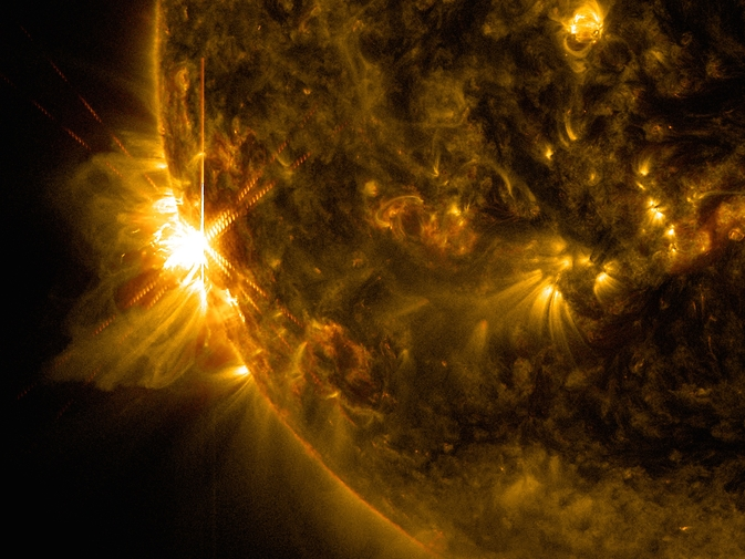 image of first solar flare of June 10, 2014, captured by SDO