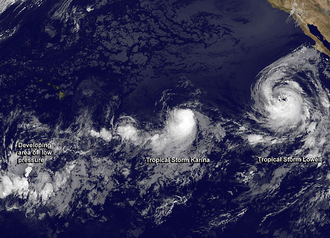 GOES-West image of Karina and Lowell