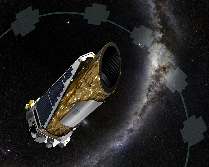 The artistic concept shows NASA's planet-hunting Kepler spacecraft operating in a new mission profile called K2