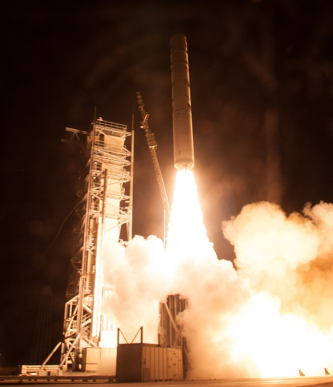 A Minotaur V rocket carrying NASA's Lunar Atmosphere and Dust Environment Explorer (LADEE) lifts off from at NASA's Wallops Flight Facility in Virginia on Friday, Sept. 6, 2013.