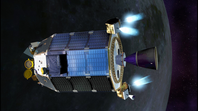 Artist's concept of LADEE firing its thrusters