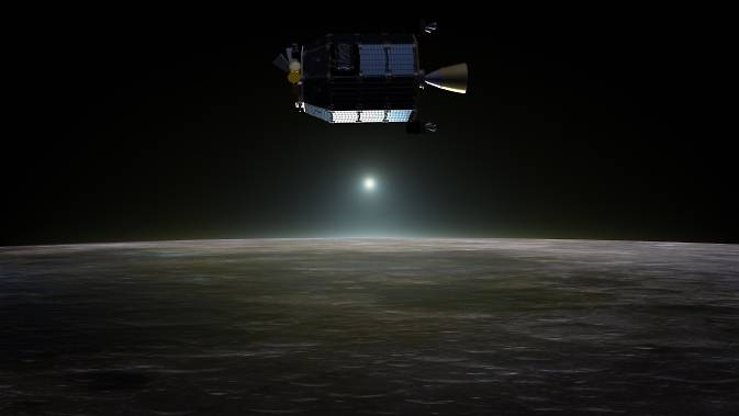 Artist's concept of NASA's Lunar Atmosphere and Dust Environment Explorer in orbit above the moon as dust scatters light during the lunar sunset.