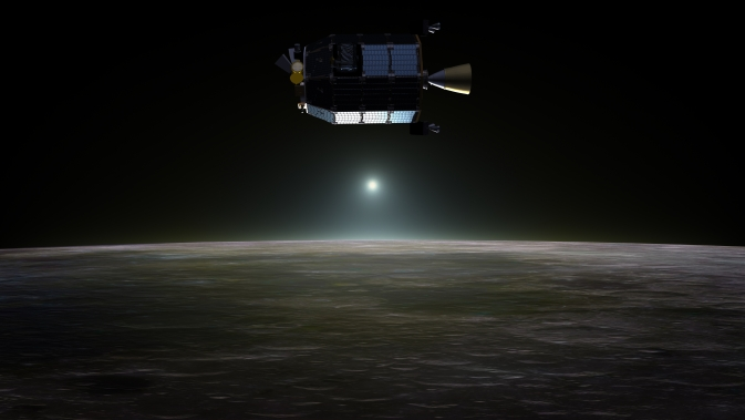 Artist's concept of LADEE in orbit around the moon