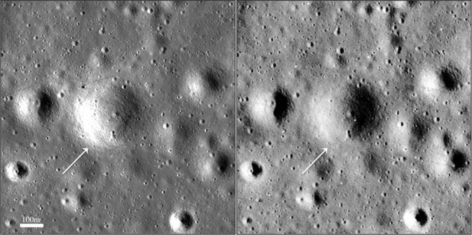 comparison image of lunar surface from LRO (left) and Lunar Orbiter 3 (right)