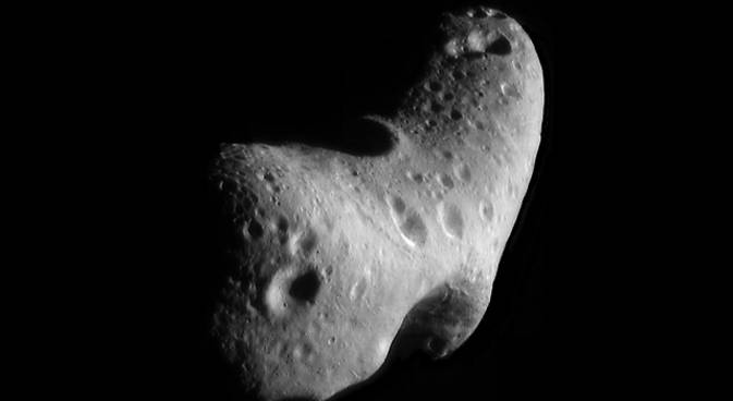 close-up view of Eros asteroid