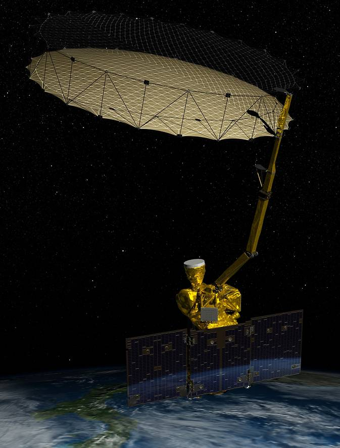 Artist's rendering of NASA's Soil Moisture Active Passive (SMAP) spacecraft in orbit.