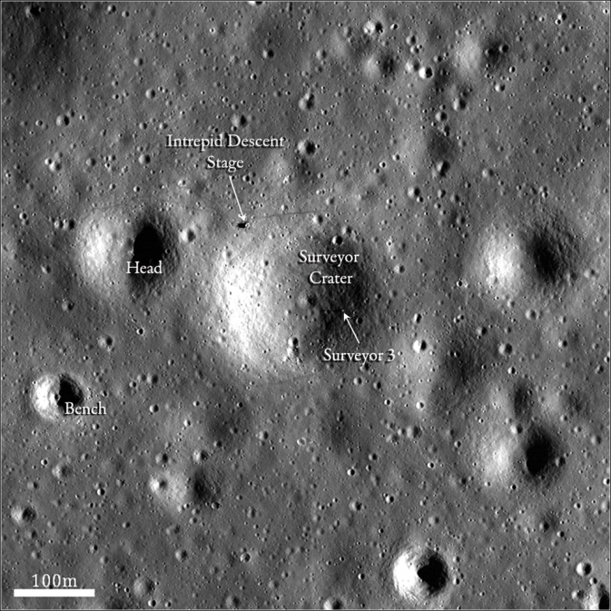 LRO image of Apollo 12 and Surveyor 3 landing sites