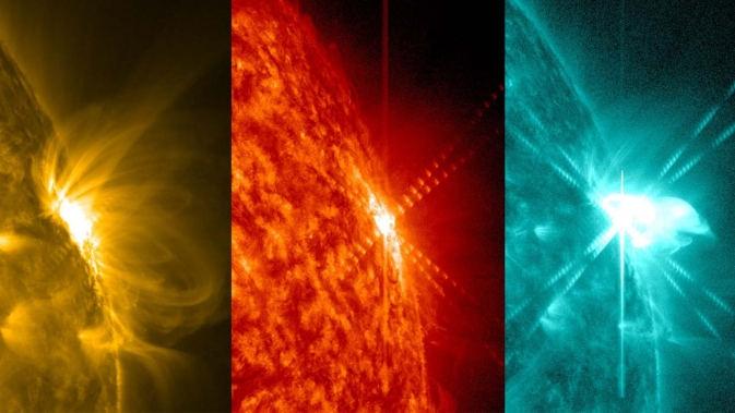 SDO captured the M9.3 solar flare shown here in 3 wavelengths.