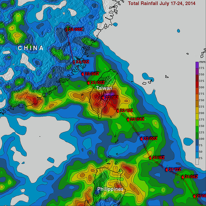 Rainfall map of Matmo over Taiwan