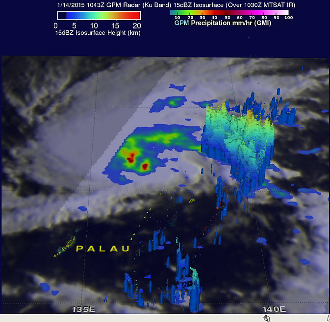 GPM shows thunderstorms topped 8 miles in height in Mekkhala