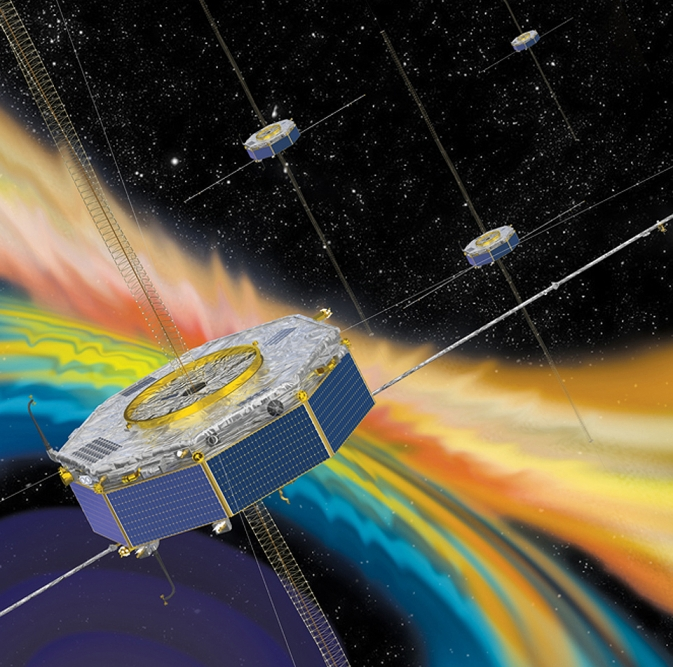 Artist rendition of the four MMS spacecraft in orbit in Earth's magnetosphere.