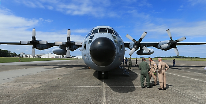 The NASA C-130 on the ramp after first arriving at Wallops this summer.