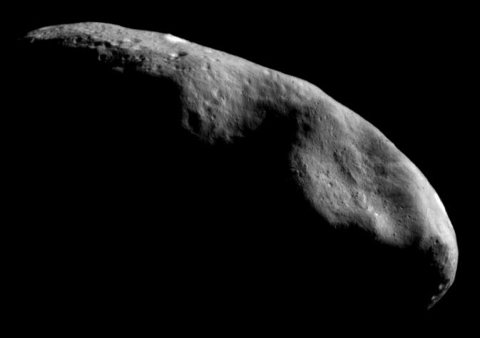 The asteroid Eros was studied up-close by NASA's NEAR mission that included landing the spacecraft on the asteroid in February 2001