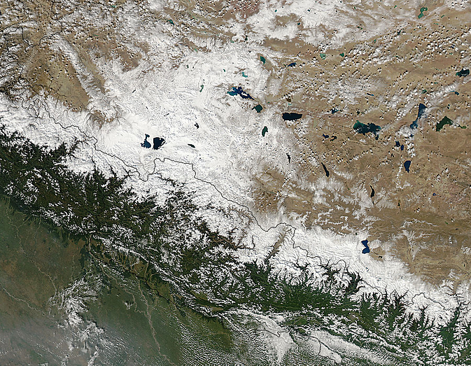 Aqua image of the snow from Cyclone Hudhud