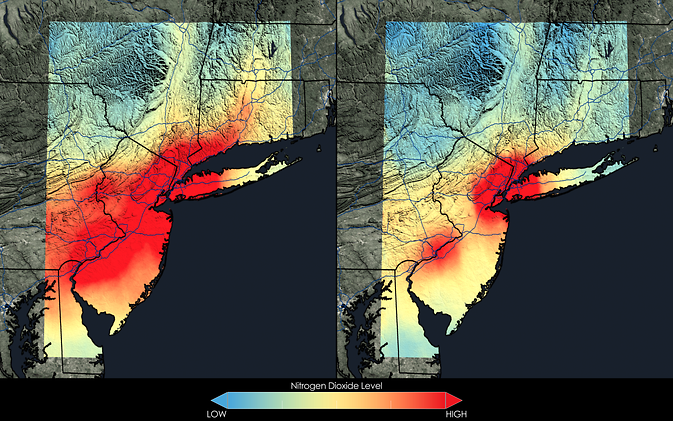 2005-2007 (left) and 2009-2011 (right) NO2 averages in New York City