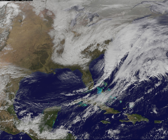 satellite image of storm system over eastern U.S.