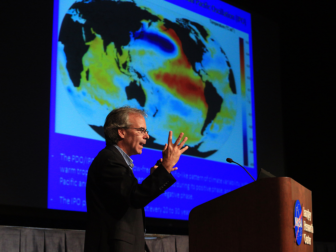 "Norman Loeb, an atmospheric scientist at NASA's Langley Research Center, recently gave a talk on the ""global warming hiatus,"" a slowdown in the rise of the global mean surface air temperature. He does not believe the hiatus will develop into something permanent."