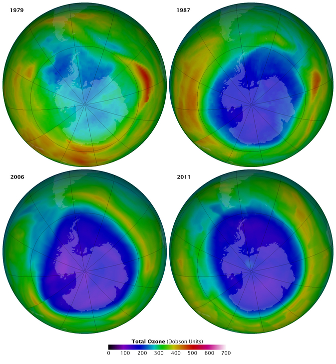 ozone concentration over Antarctica in 1979, 1987, 2006, 2011
