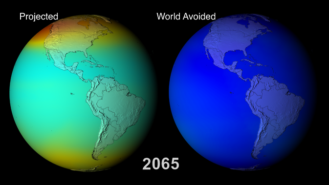projections of worldwide ozone coverage in 2065 with and without the Montreal Protocol