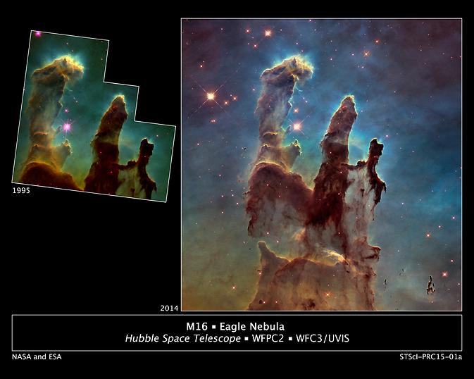 "Hubble views of ""Pillars of Creation"""