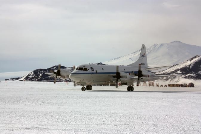 P-3B sits in front of Mount Erebus in Antarctica.