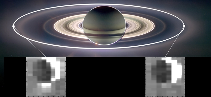 This set of images from NASA's Cassini mission shows how the gravitational pull of Saturn affects the amount of spray coming from jets at the active moon Enceladus