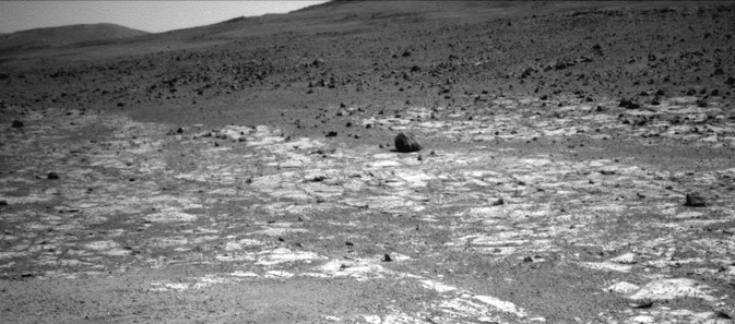 "This view from NASA's Mars Exploration Rover Opportunity shows an area where a pale-toned geological unit called the ""Burns Foundation,"""