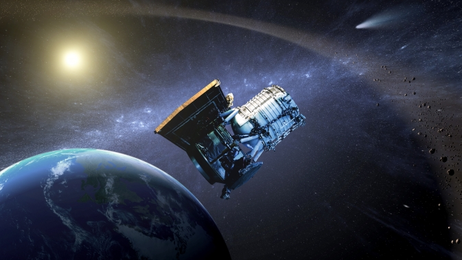 This artist's concept shows the Wide-field Infrared Survey Explorer, or WISE spacecraft, in its orbit around Earth. In 2013, the mission was brought out of hibernation to hunt for more asteroids and comets in a project called NEOWISE.