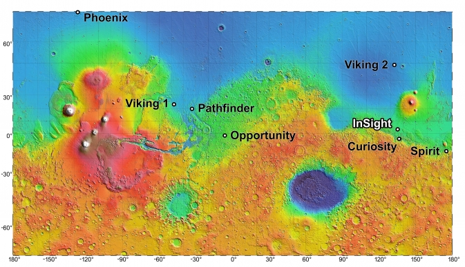Map showing landing site for InSight and other NASA missions