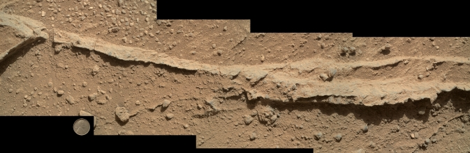 Mosaic of four images taken by the Mars Hand Lens Imager (MAHLI) camera on NASA's Mars rover Curiosity