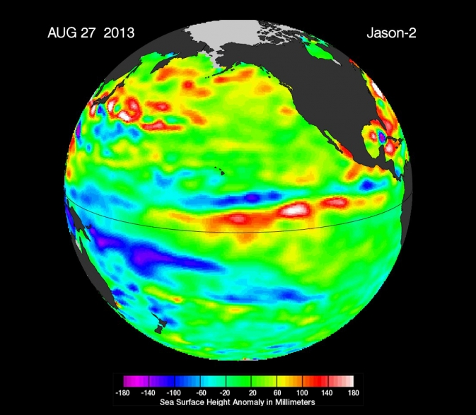 Latest image of sea surface heights in the Pacific Ocean from NASA's Jason-2 satellite
