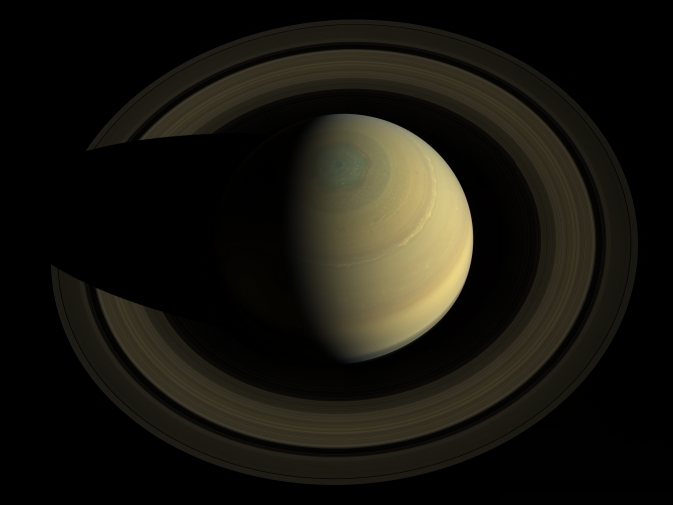 Top-down view of Saturn