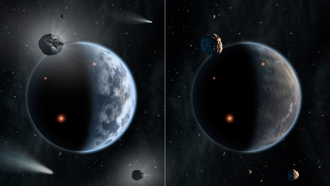 This artist's concept illustrates the fate of two different planets