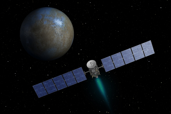 Artist's concept shows NASA's Dawn spacecraft heading toward the dwarf planet Ceres