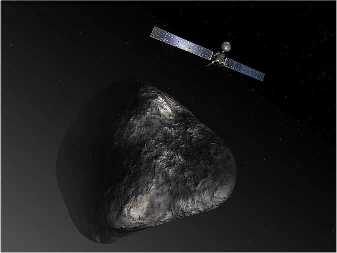 This artist's impression shows the Rosetta orbiter at comet 67P/Churyumov-Gerasimenko. The image is not to scale.