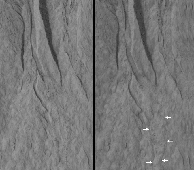 Changes Near Downhill End of a Martian Gully