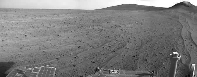 NASA's Mars Exploration Rover Opportunity captured this scene looking farther southward just after completing a southward drive