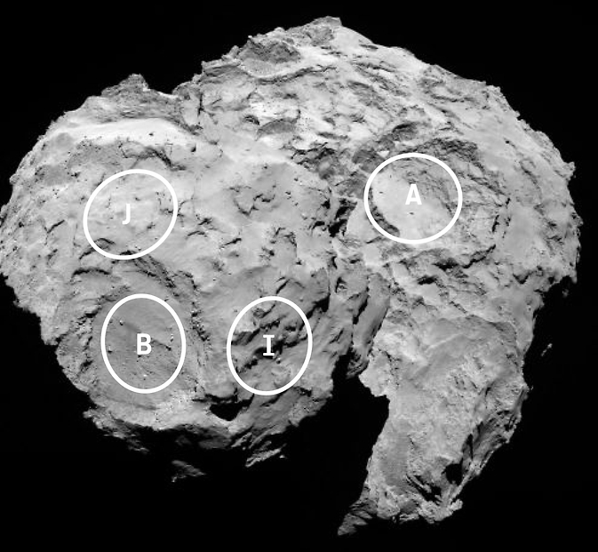 This annotated image depicts four of the five potential landing sites for the Rosetta mission's Philae lander.
