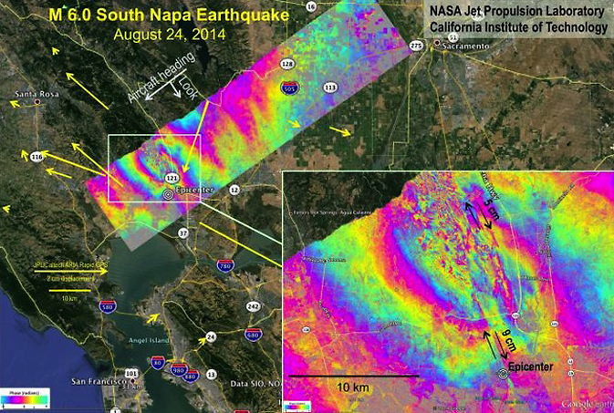 Data collected five days after the magnitude 6.0 Napa earthquake on Aug. 24 determined that the earthquake surface rupture was complex, with multiple fault offsets near the quake epicenter. Each colored contour in the image represents about 12 centimeters of ground displacement.
