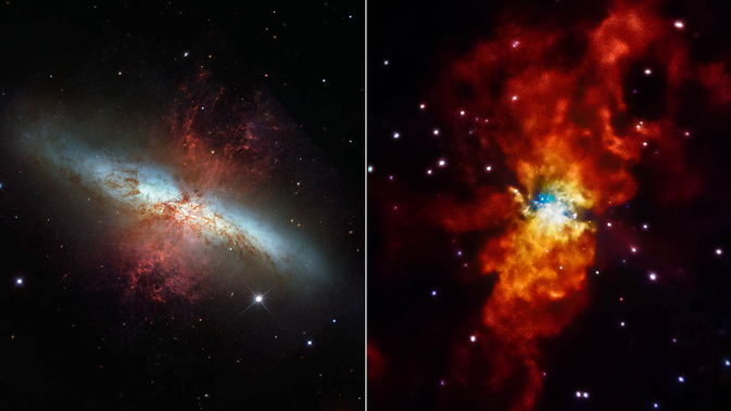 Messier 82 (M82) is seen here in two different lights