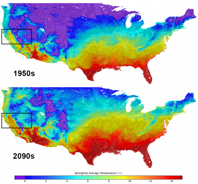 NASA Supercomputer Generates Closer Look At Future Climate - Us average winter temperature map