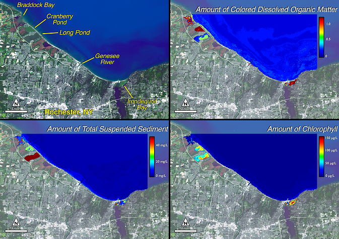 Landsat data of dissolved organic matter, suspended sediment, chlorophyll along Lake Ontario shoreline