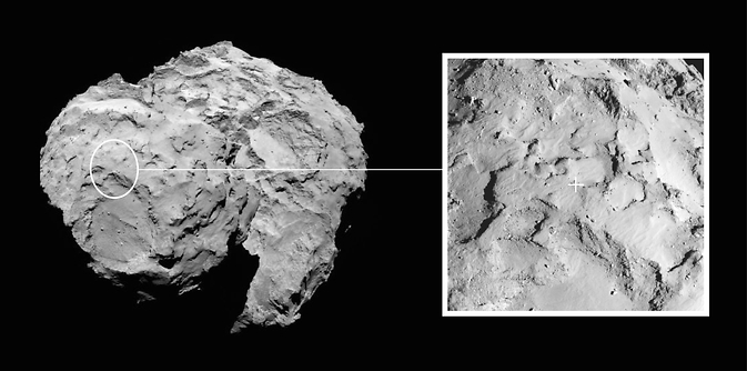 Image depicts the primary landing site on comet 67P/Churyumov–Gerasimenko chosen for the European Space Agency's Rosetta mission
