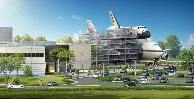 This artist's concept depicts the space shuttle mockup and Shuttle Carrier Aircraft exhibit, along with the adjoining six-story access ramp and exhibit complex to be built at the Space Center Houston visitor center