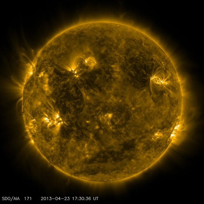 NASA's Solar Dynamics Observatory captured this image of what the sun looked like on April 23, 2013, at 1:30 p.m. EDT when the EUNIS mission launched. EUNIS focused on an active region of the sun, seen as bright loops in the upper right in this picture.