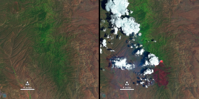 Landsat 8 satellite image of New Mexico Silver Fire