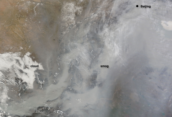 clouds and smog over China