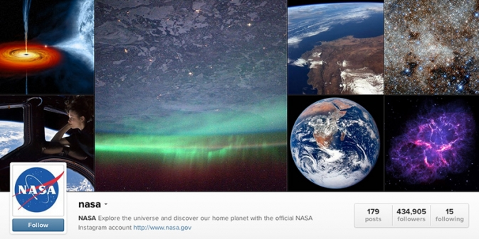 Screengrab of NASA's Instagram profile page.